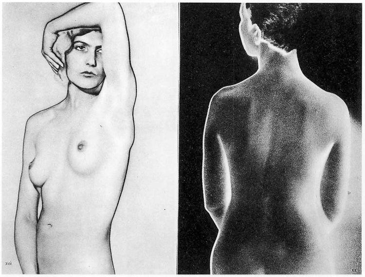 Nus en buste solarisés par Man Ray