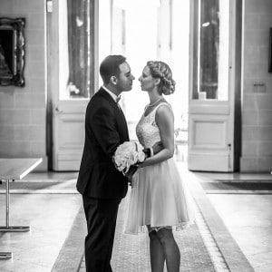 Les époux quelques instants avant un baiser