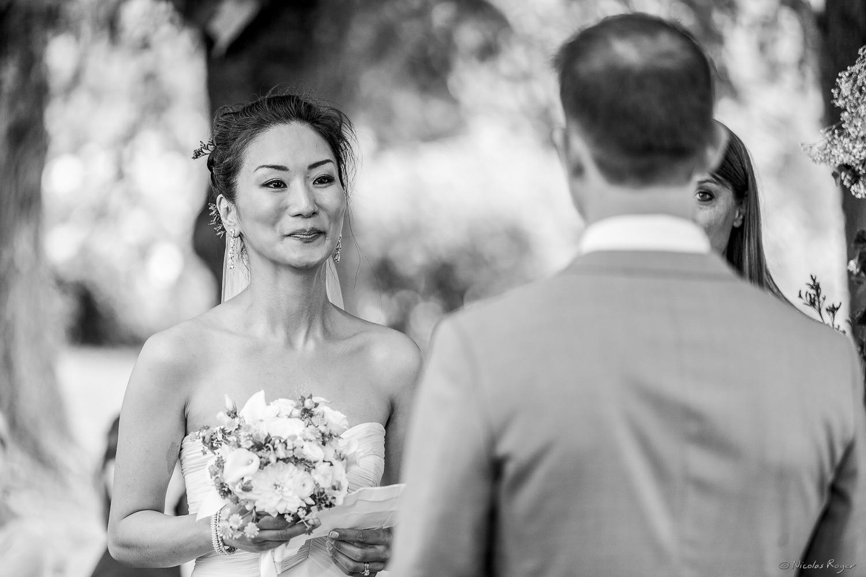 La mariée au vin d'honneur